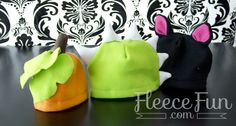This free fleece hat pattern started my Halloween hat pack tradition! This super pack of patterns features, a Dragon/dinosaur, viking, cat, bear, pumpkin and apple! a sweet video tutorial walks you through how to make each hat. This is a great project for... #adultpattern #babypattern #childpattern