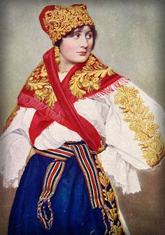 Bulgarian costume. From an old encyclopedia of peoples around the world. Photographer unknown.