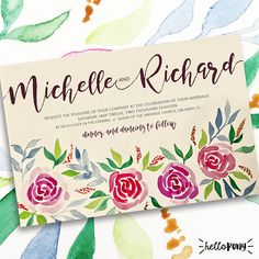 Wedding Invitation  Roses and nature  Boho Chic theme