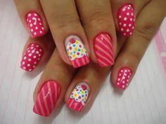 www.lindas maravilhas.com | Confira uma seleção de fotos de unhas decoradas Cupcake.