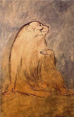 Seated monkey, 1905 by Pablo Picasso, Rose Period. Pablo Picasso Artwork, Kunst Picasso, Picasso Paintings, Animal Paintings, Picasso Rose Period, Picasso Blue, Malaga, Paul Gauguin, Art Moderne