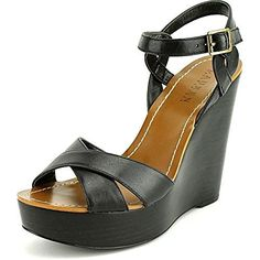 LAUREN Ralph Lauren Doreen Wedge Sandal Shoe - Black Burnished Vachetta - Womens - 10. Adjustable ankle strap with buckle closure. Open-toe silhouette. Crisscrossing straps at vamp. Synthetic lining and footbed. Wrapped platform wedge. Synthetic sole.