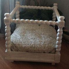 DIY dog bed:), The bottom half of a chair or small table can always be reused, with the addition of a comfy cushion, your doggie will have a stylish and durable doggie bed, remember to add those wheels! Pet Beds, Doggie Beds, Doggies, Pet Station, Bed Picture, Diy Dog Crate, Pet Hotel, Dog Beds For Small Dogs, Diy Dog Bed