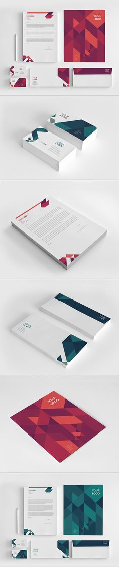 Modern Red Blue Stationery on Behance