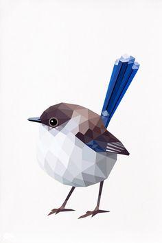 Wren azul mujer figura geométrica pájaro por tinykiwiprints en Etsy
