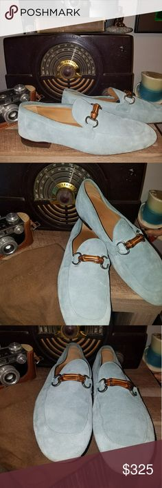 Gucci  suede bamboo bit loafer with dust bag Super cool amazing Gucci suede bamboo bit loafer mens shoes. These loafers features materials bamboo bit across vamp suede upper leather lined leather sole and rubber heel model queen 368435 by gucci it also comes with original Gucci dust bag gucci Shoes Loafers & Slip-Ons