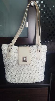 Πλεκτή Τσάντα Tote Star Stitch Star Stitch, Handmade Bags, Monogram, Michael Kors, Stars, Crochet, Pattern, Fashion, Moda