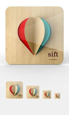 "Proposal iOS icons designed by user interface designer Omar Puig for a discovery app called ""sift"" by start-up Wordnik."