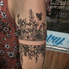 Flwoer Arm Band Tattoo Artist: Luckys Tattoo and #TattooIdeasArm