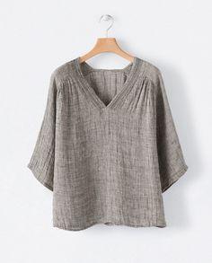 Image of Crinkle linen v-neck top