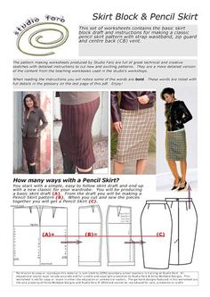 Skirt Draft and Pencil Skirt Pattern (download)