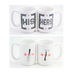 His & Hers mug set. Ax and Spade. ceramic. hand-printed