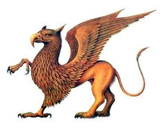 "the Griffin (above) is a legendary creature with the body of a lion and the head and wings of an eagle. The lion was considered the ""King of the Beasts"" and the eagle the ""King of the Air"", the griffin was thought to be an especially powerful and majestic creature. The griffin is generally represented with four legs, wings and a beak, with eagle-like talons in place of a lion's forelegs and feathered, equine-like ears jutting from its skull."