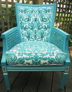 Italianate-styled chair with caned arms in turquoise paint and damask-style fabric. I love it's freshness!