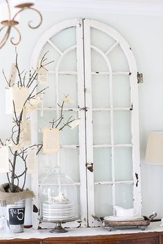Decorate with architectural salvage like these old windows