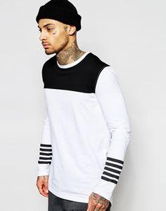 ASOS Longline Long Sleeve T-Shirt With Contrast Yoke And Drop hem