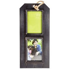 "Love your memories with care. 4"" x 6"" Distressed Black Collage Frame with Rope is perfect for displaying your favorite pictures.    	It features a tag-shaped panel of black distressed MDF and two openings surrounded by distressed black fillets. Hang this beautiful frame in your home or office and share your memories.    	     	Dimensions:    	Frame:    	  		Length: 17""  	  		Width: 7 3/4""  	  		Thickness: 1/4""      	     	Photo Openings:   ..."