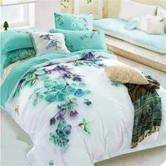 Pale Turquoise Floral and Bird Print Bedding Sets Queen Size Cotton Bed Sheets Blooms Duvet Cover Set Bed in a Bag Cheap Bedding Sets, Cotton Bedding Sets, Best Bedding Sets, Bedding Sets Online, Queen Bedding Sets, Luxury Bedding Sets, Comforter Sets, Cotton Duvet, Cotton Sheets