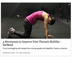 """""""Shoulder pain, low back pain, and an excessively stiff mid-upper back can all point to having poor thoracic mobility. Here are some exercises to improve that. - (https://barbend.com/improve-thoracic-spine-mobility/?utm_content=buffer66446&utm_medium=social&utm_source=pinterest.com&utm_campaign=buffer)"""""""