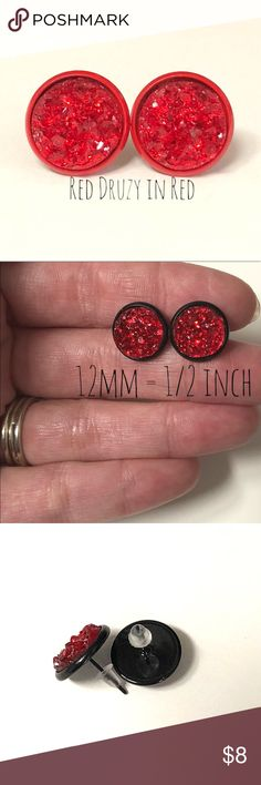 💕4 for $20- Red Druzy Stud Earrings In Red (1) pair- 12mm Red Druzy Stud Earrings In Red Setting   All of our settings are lead / nickel free and have rubber backs.  BUNDLE 4 PAIRS FOR $20! Bundle your favorite 4 pairs, send me and offer for $20, & I'll accept!!   Custom requests are always welcome!   All of our earrings come packaged in a giftbox. Jewelry Earrings