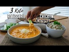 These Low Carb Rotisserie Chicken Recipes turn a boring, store bought rotisserie chicken into three new, delicious meals!