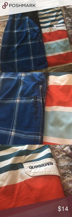 Men's bathing suits board shirts size 40🏄🏼 2 bathing suits EUC 1 is by quicksilver and the other is O'Neill both size 40 quiksilver & o'neill Swim