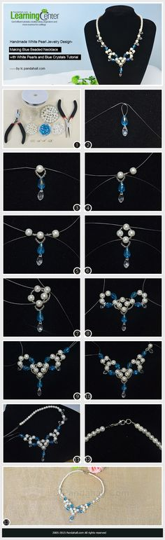 Handmade White Pearl Jewelry Design-Making Blue Beaded Necklace with White Pearls and Blue Crystals---vma.