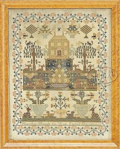 FINE EARLY 19TH CENTURY PICTORAL SAMPLER.