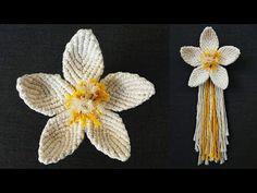 DIY como hacer una FLOR en MACRAME (paso a paso) | DIY Macrame Flower Tutorial (step by step) - YouTube Macrame Design, Macrame Art, Macrame Projects, Macrame Knots, Yarn Projects, Macrame Jewelry, Macrame Bracelet Patterns, Free Crochet Doily Patterns, Macrame Bracelet Tutorial
