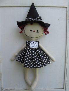 Annie the Polka Dot Halloween Witch handmade cloth rag doll. $34.00, via Etsy.