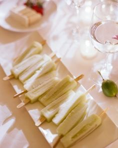 Honeydew popsicles are the perfect late night snack for a summer wedding.  Planning and Design by Pineapple Productions.  Photo by Kate Headley.  Catering by Design Cuisine.