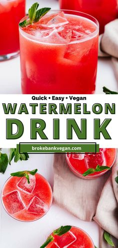 If you're feeling summer vibes, whip together this refreshing agua de sandia recipe. Enjoy sweet, juicy flavors along with the bright pink hue of watermelon. All you need is watermelon, agave, and water, and people will be begging you for the recipe. If you feel like a more grownup version, this drink goes well with rum, vodka, or tequila. Time for watermelon to steal the show! #AguaFresca #Watermelon #WatermelonDrink Summer Drink Recipes, Easy Drink Recipes, Summer Food, Delicious Vegan Recipes, Summer Drinks, Cocktail Recipes, Healthy Recipes, Smoothie Detox, Healthy Smoothies
