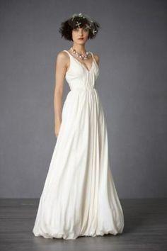 Vintage V-Neck Satin Wedding Gown