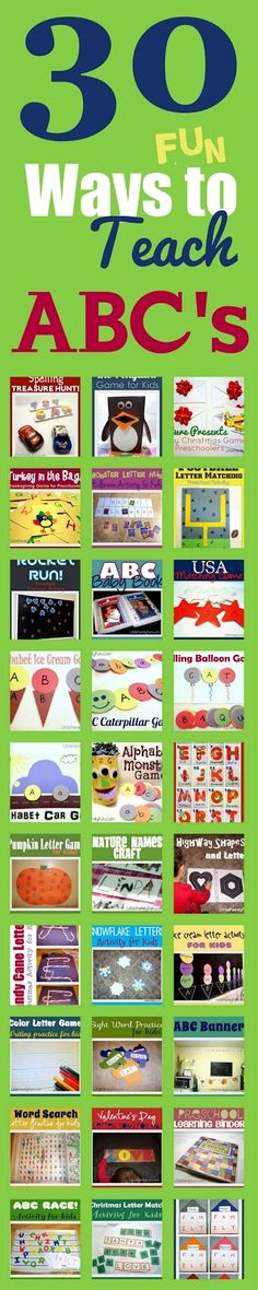 Teaching the Alphabet. 30 fun ways to learn ABC& I really like the idea of a preschool learning binder. Looks organized and covers a lot of the basics. Preschool Literacy, Preschool Letters, Early Literacy, Literacy Activities, Preschool Activities, Time Activities, Kindergarten, Toddler Learning, Early Learning