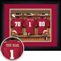 Your Name on a jersey in the football Locker Room of your favorite  collegiate team Florida State FSU Seminoles cd2d3f3a8