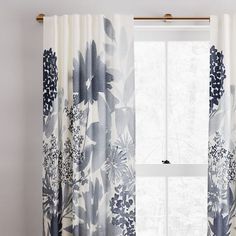 Corner Curtains, Cool Curtains, Floral Curtains, Window Curtains, Blue Curtains, Velvet Curtains, Curtains With Blinds, Modern Window Treatments, Modern Windows
