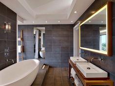 Badspiegel mit Beleuchtung - Doppelwaschtisch mit Aufsatzbecken