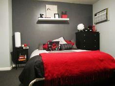 "Bold Ideas for Red and Black Bedrooms. The grey is a great accent piece to keep the room from becoming too ""angry"" or too dark."