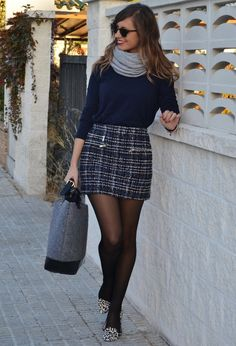 blue 3/4 sleeve, gray scarf, plaid skirt! (hate the shoes). 21 Winter Combinations With Skirts