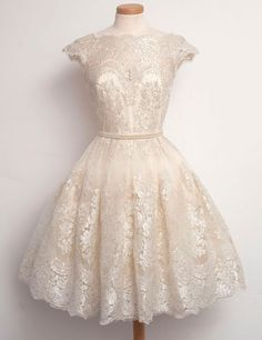 Chic Bateau A-line Lace Beige Short Homecoming Dress With Pearls,vintage dresses 2016,vintage prom dresses,beige homecoming dresses,short homecoming gown