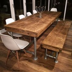 Farmhouse table plans & ideas find and save about dining room tables . See more ideas about Farmhouse kitchen plans, farmhouse table and DIY dining table Rustic Kitchen Tables, Kitchen Table Bench, Dining Table With Bench, Wooden Dining Tables, Rustic Table, Farmhouse Table, Dining Room Table, Dining Area, Kitchen Dining