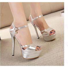 Sandale en cuir d'argent femme fashion talon 14.5cm