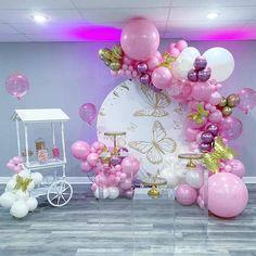 Balloon Garland, Balloon Decorations, Balloons, Baby Shower Gender Reveal, Baby Gender, Butterfly Birthday, Girl Birthday, Elephant Baby, 21st