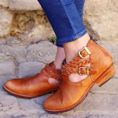 The Leather Plait Booties : Handmade Full-Grain Leather Ankle Boots Tan Buckle Plaited Strap Customizable Festival MadeToOrder Boho Western