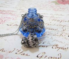 Glass Perfume Bottle Necklace Sapphire Blue Filigree Wrapped With Glass Stones…