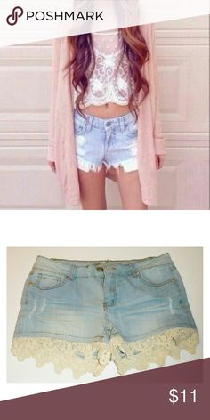 (Lace) Light blue jean shorts Lace trimming  Any questions feel free to call (909) 843_9297 Shorts Jean Shorts