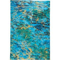 Blue with Gold and Black Marbling Waves Fine Paper
