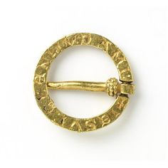 """My favourite ring brooch. Gold. Translated inscription reads: """"I am here in place of a friend."""" France or England. c.1200-1300. Victoria & Albert Museum."""