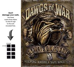 - American Theme Tin Sign Decorative Sign and Vintage Retro TinSigns - Dawgs of War - with Sticky Stripes No Damage to Walls