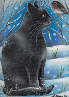 Black Cat Watching Robin - Winter Painting